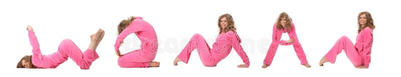 Mädchen in der rosafarbenen Kleidung, die Wort FRAU, Collage bildet stockfotos