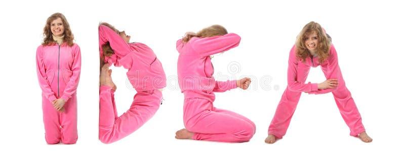 Mädchen in der rosafarbenen Kleidung, die Wort IDEE, Collage bildet lizenzfreies stockbild