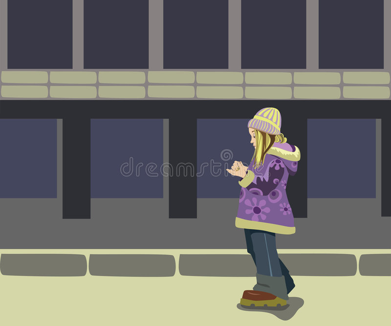 Mädchen in der Straße lizenzfreie abbildung