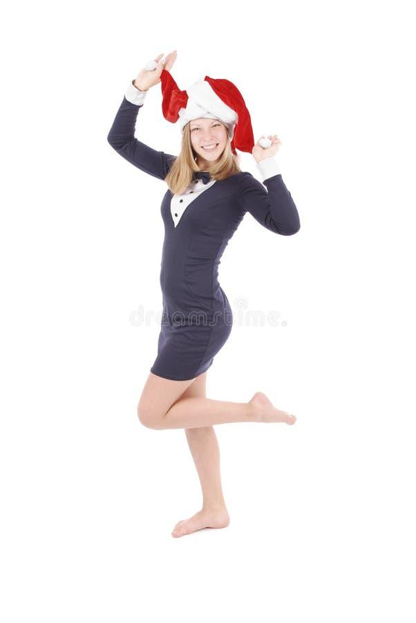 Mädchen in der Verkleidung Santa Claus stockfotos