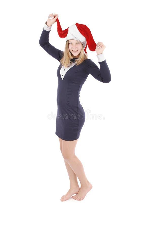 Mädchen in der Verkleidung Santa Claus lizenzfreies stockbild