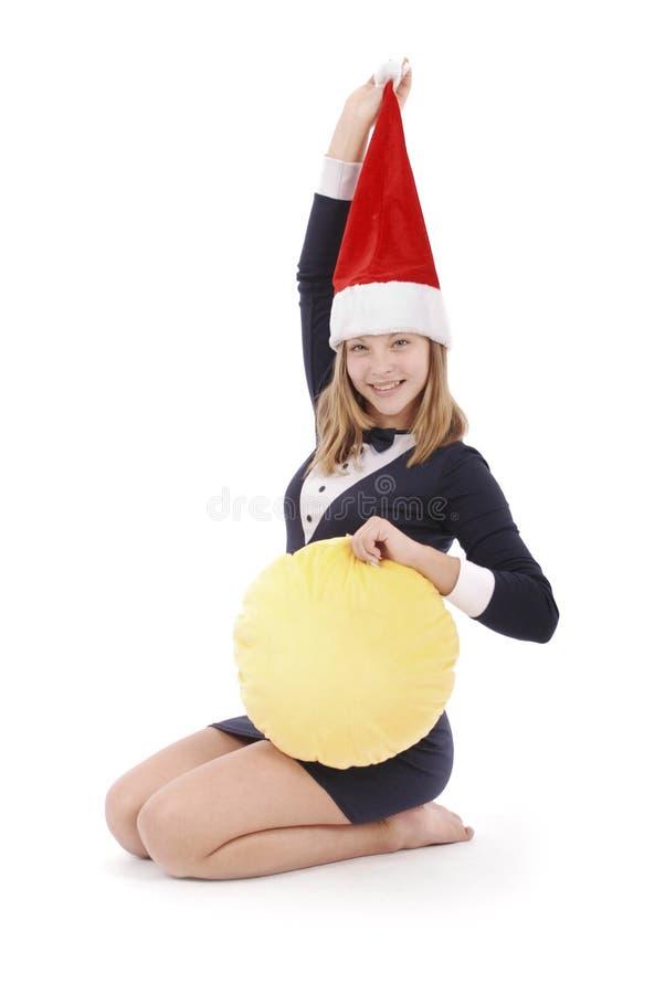 Mädchen in der Verkleidung Santa Claus lizenzfreie stockfotos