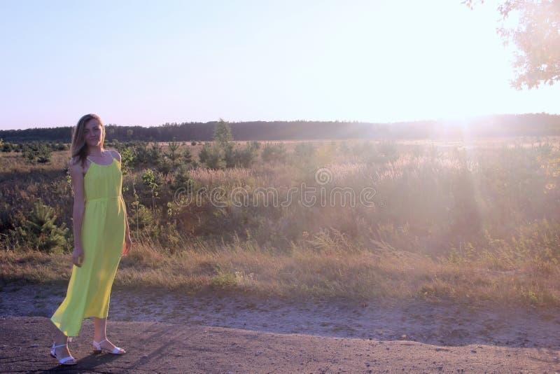 Mädchen in der Wiese an einem sonnigen Tag stockbild