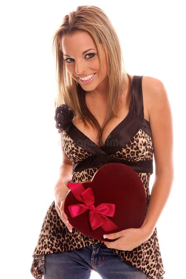 Mädchen des Valentinsgrußes stockfoto