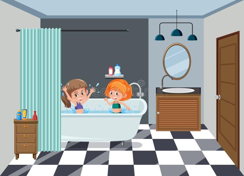 Mädchen, die auf dem Badezimmer baden vektor abbildung