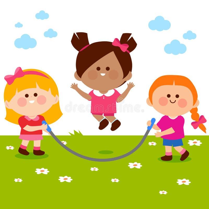 Mädchen, die am Park spielen lizenzfreie abbildung