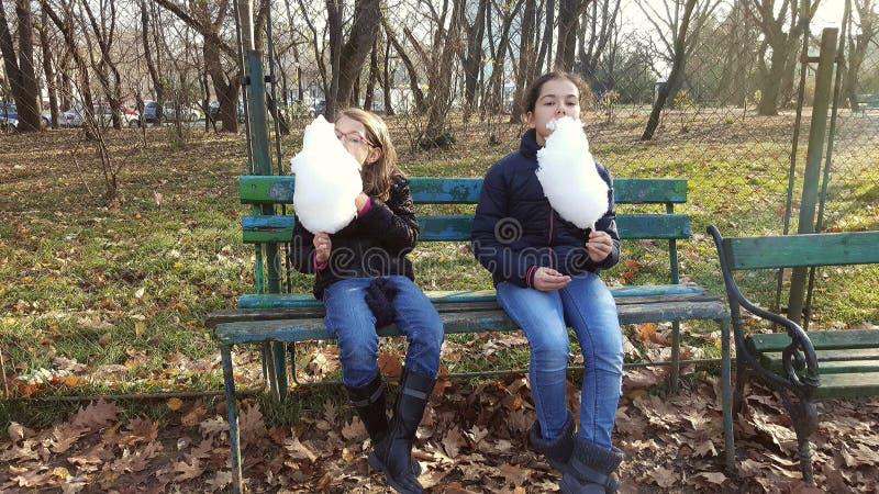 Mädchen, die Zuckerwatte essen lizenzfreies stockbild