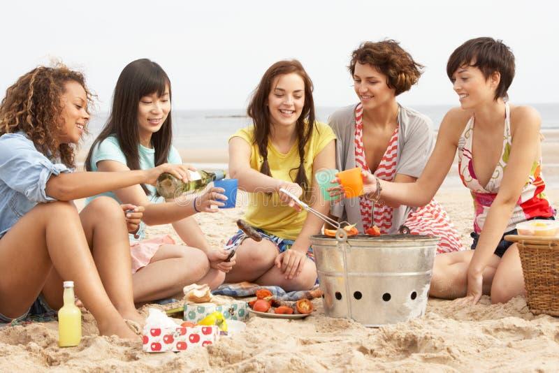 Mädchen, die zusammen Grill auf Strand genießen lizenzfreie stockfotos