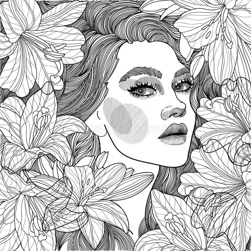 Mädchen in einem Busch von Lilien stock abbildung