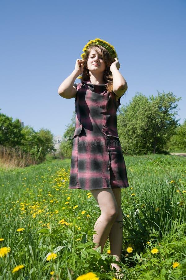 Mädchen in einem Chaplet gegen einen Himmel stockfotografie