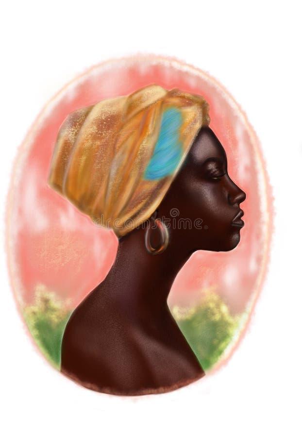 Mädchen in einem gelben Kopfschmuck mit einer blauen Feder vektor abbildung