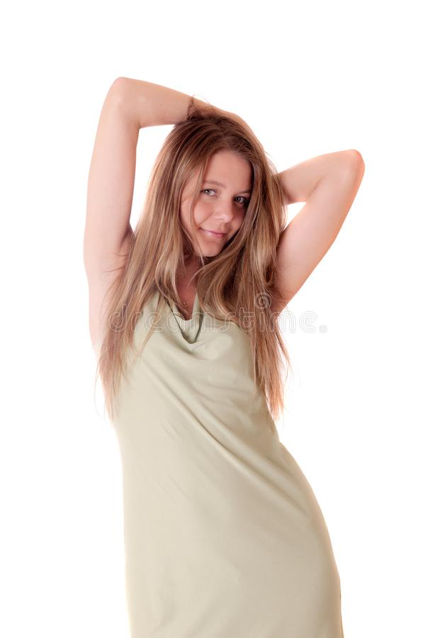 Mädchen in einem grünen Kleid lizenzfreies stockbild
