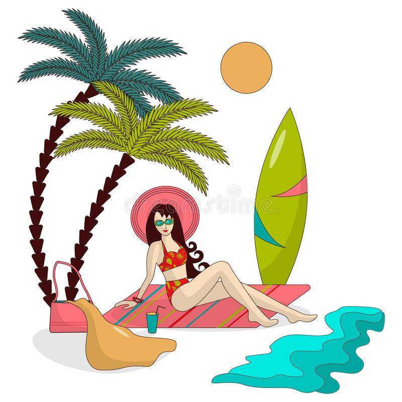 Mädchen in einem Hut und in einem Badeanzug steht auf dem Strand unter Palmen, durch das Meer still, gibt es ein Surfbrett in der lizenzfreie abbildung