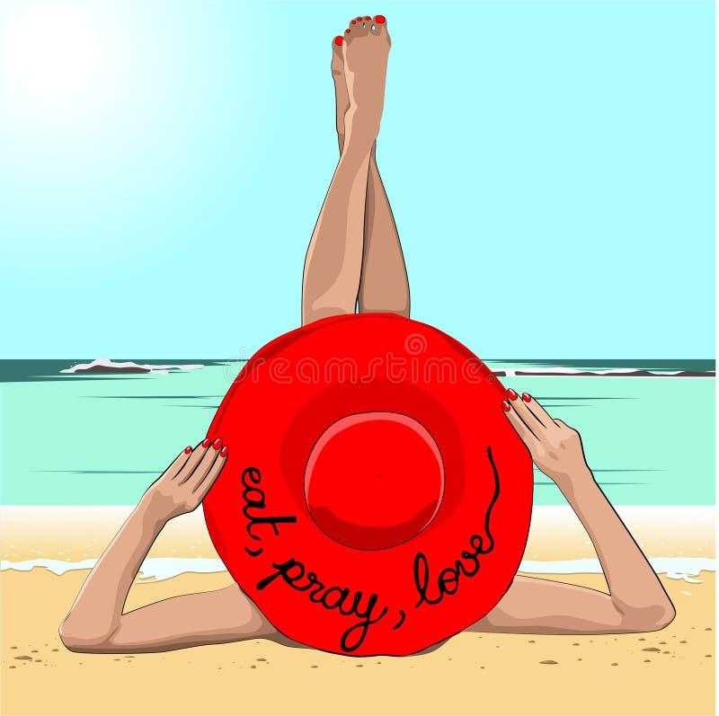 Mädchen in einem roten Hut mit der Aufschrift nimmt auf dem Sand ein Sonnenbad stock abbildung
