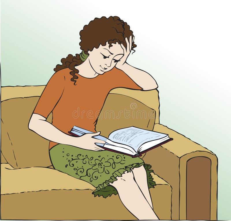 Mädchen in einem Stuhl ein Buch lesend lizenzfreie abbildung