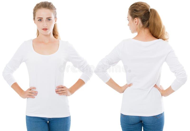 Mädchen in einer langärmligen T-Shirt Collage lokalisiert auf weißem Hintergrund, Kopienraum, freier Raum, leer lizenzfreies stockfoto