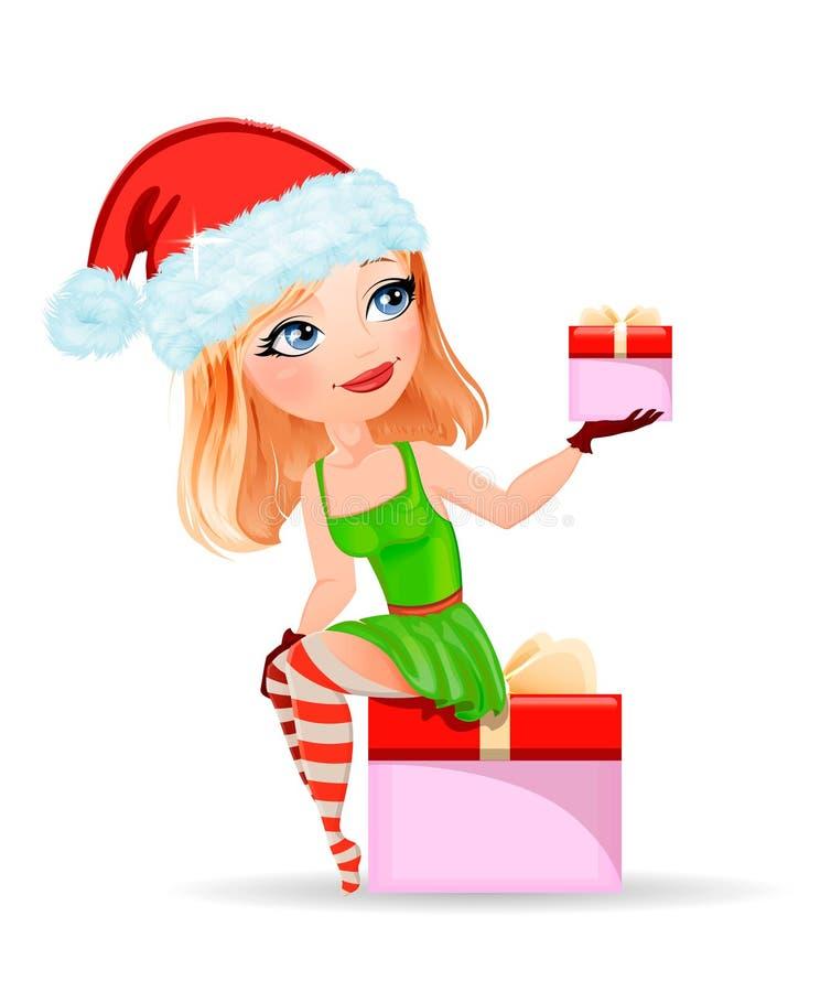 Mädchen in einer roten Kappe, die Weihnachtsgeschenke von Sankt für Weihnachten hält vektor abbildung