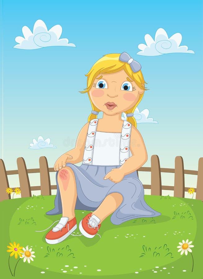 Mädchen erhalten verletzte Vektor-Illustration lizenzfreie abbildung