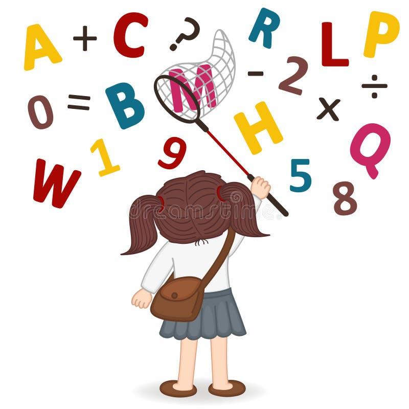 Mädchen fängt ein Netz von Buchstaben und von Zahlen vektor abbildung