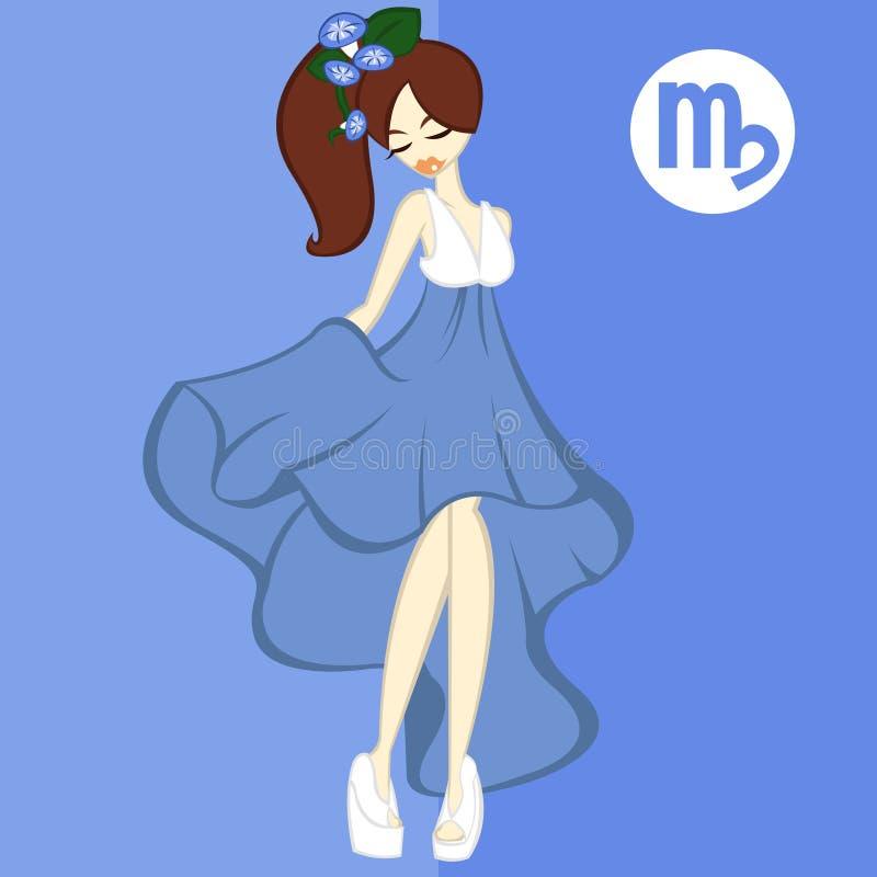 Mädchen-flache Art, Blume für Tierkreis ` Jungfrau-Morgen-Ruhm ` lizenzfreies stockbild