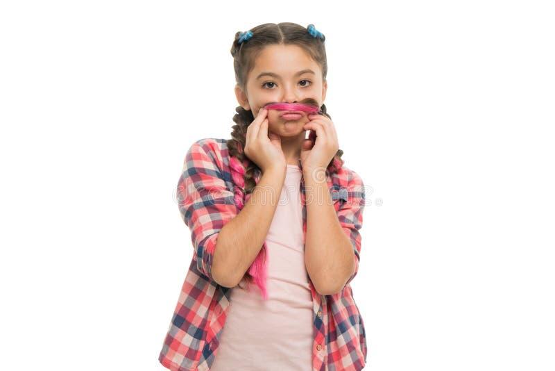 Mädchen flicht lang weißen Hintergrund Riesige Borten Kanekalon Halten Sie Frisur geflochten für gesünderes Haar Kinderspiel mit  lizenzfreie stockfotografie