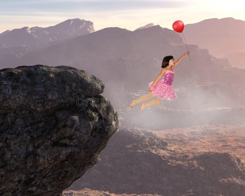 Mädchen-Fliegen, Frieden, Hoffnung, Liebe, Natur, geistige Wiedergeburt lizenzfreie stockfotos