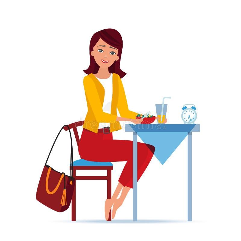 Mädchen frühstückt am Abendtische und bereitet wird für vor zu arbeiten lizenzfreie abbildung