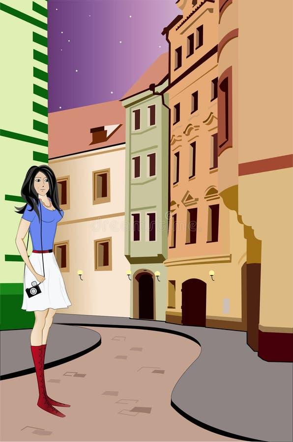 Mädchen geht auf eine Nachtstadt. Vektorabbildung. vektor abbildung