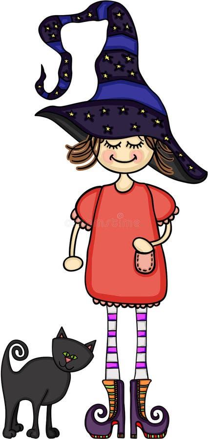 Mädchen gekleidet als Hexe mit einer schwarzen Katze lizenzfreie abbildung