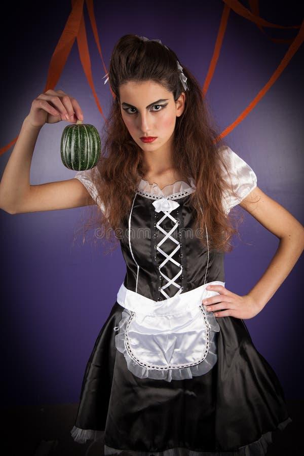 Mädchen gekleidet für Halloween lizenzfreie stockfotos