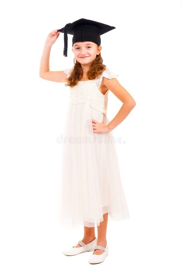 Mädchen gekleidete Junggeselleschutzkappe lizenzfreie stockfotografie