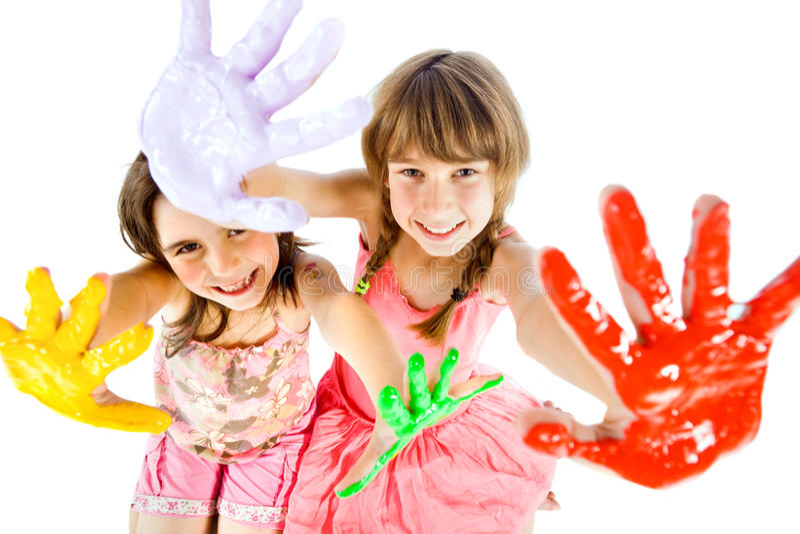 Mädchen gemalte Hände lizenzfreie stockbilder
