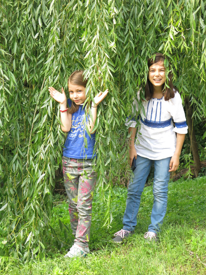 Mädchen gestanden unter einem Weidenbaum lizenzfreies stockfoto