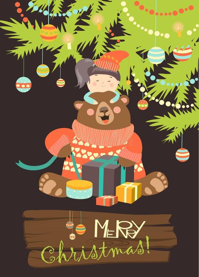 Mädchen gibt dem Bären Geschenke vektor abbildung