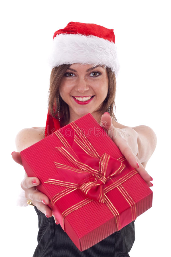 Mädchen gibt Geschenke. lizenzfreie stockbilder