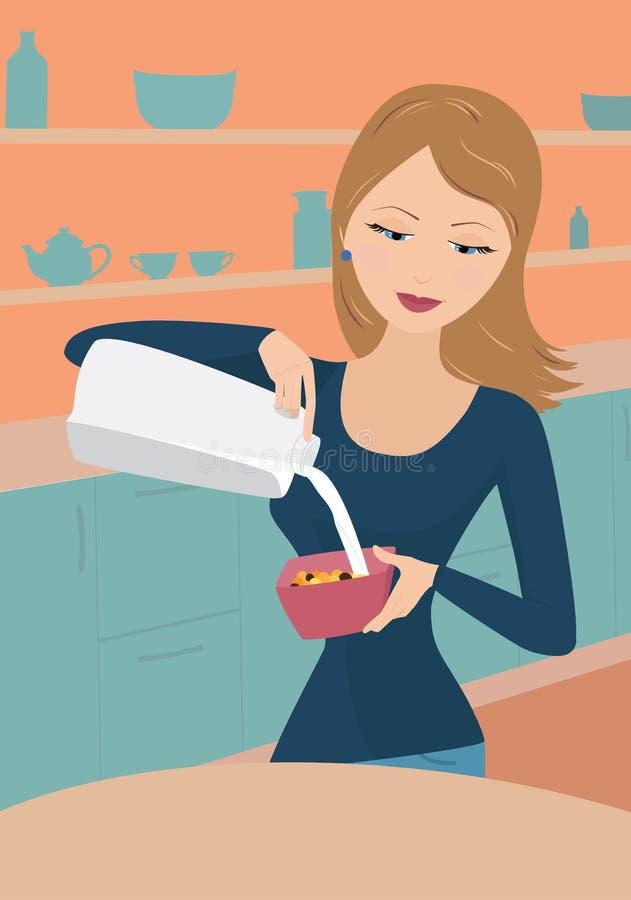 Mädchen gießt Milch lizenzfreie abbildung