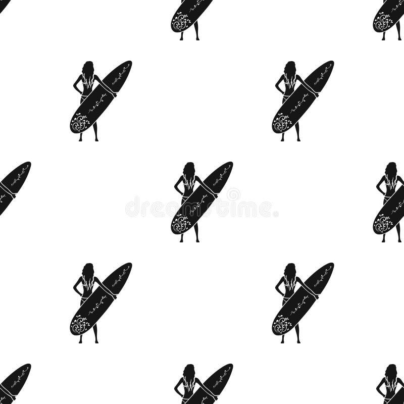 Mädchen hält eine Surfbrettikone in der schwarzen Art lokalisiert auf weißem Hintergrund Surfende Vektorillustration des Symbols  stock abbildung
