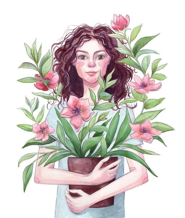 Mädchen hält einen Blumentopf in ihren Händen stockbilder