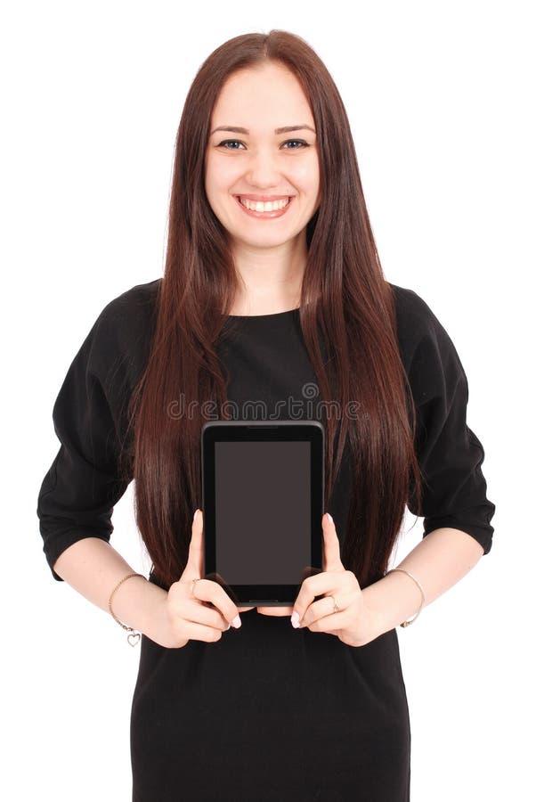 Mädchen hält Tabletten-PC stockfoto