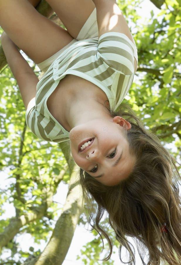 Mädchen-Hängen umgedreht vom Baum stockfoto