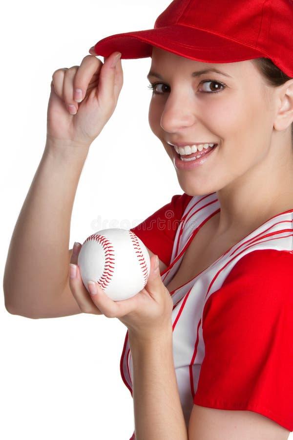 Mädchen-Holding-Baseball lizenzfreie stockbilder