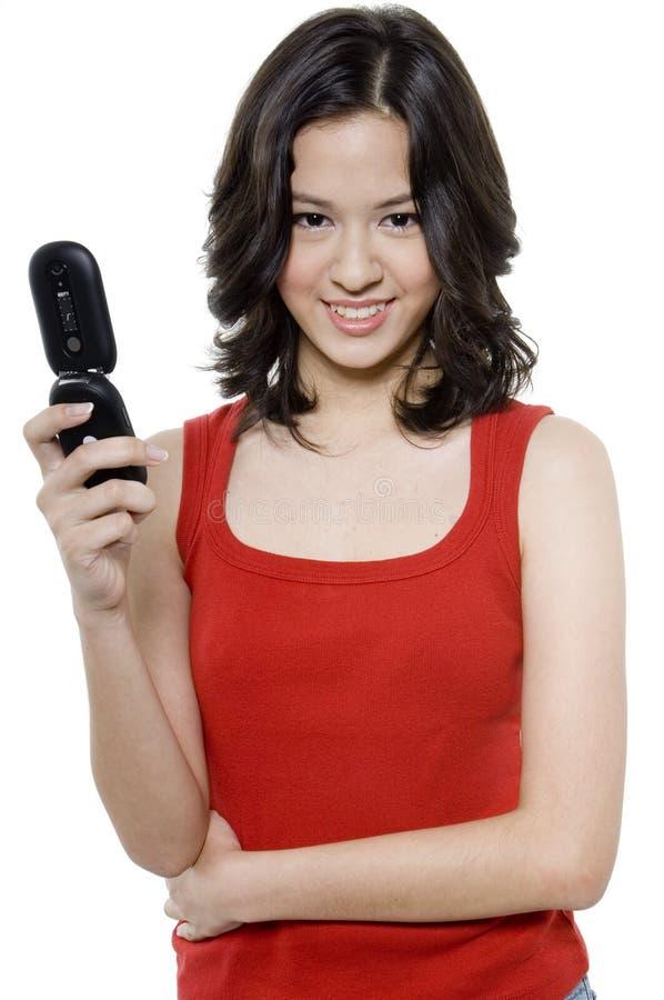 Mädchen-Holding-Telefon stockfotografie