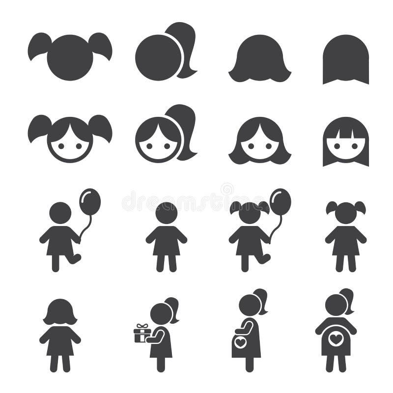 Mädchen-Ikone lizenzfreie abbildung