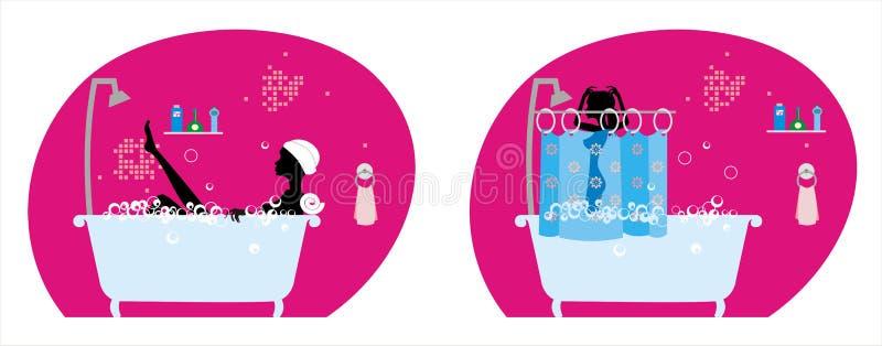 Mädchen im Badezimmer vektor abbildung