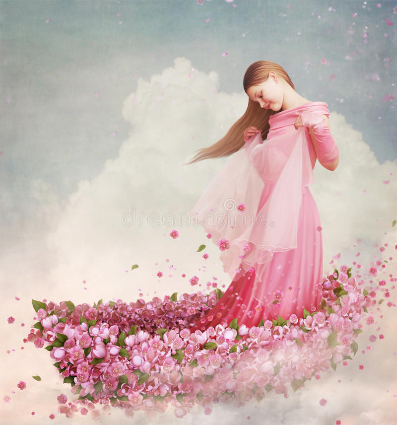 Mädchen im Boot der Blumen stock abbildung