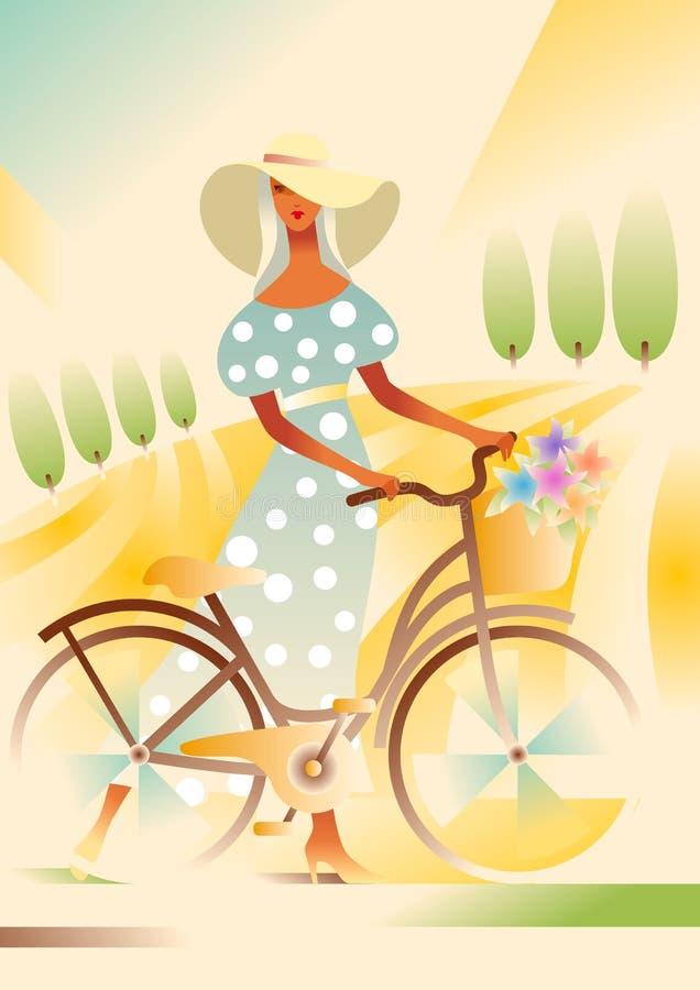 Mädchen im breitrandigen Hut und im blauen Kleid mit einem Fahrrad auf der Straße auf dem Gebiet Landwirtschaftliche Landschaft vektor abbildung