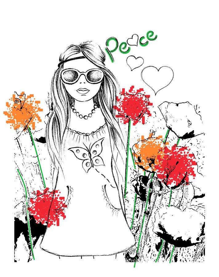 Mädchen im Garten, Kindert-shirt Druck lizenzfreie abbildung