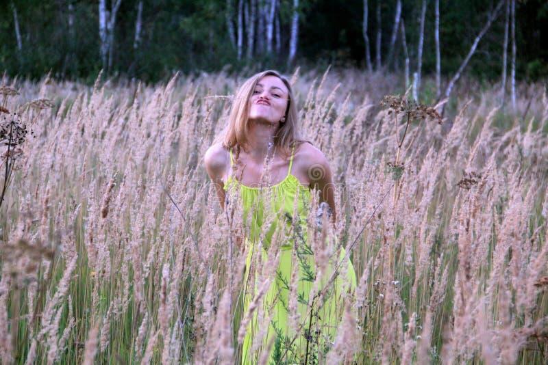 M?dchen im gelben Kleid auf dem Gebiet stockfoto