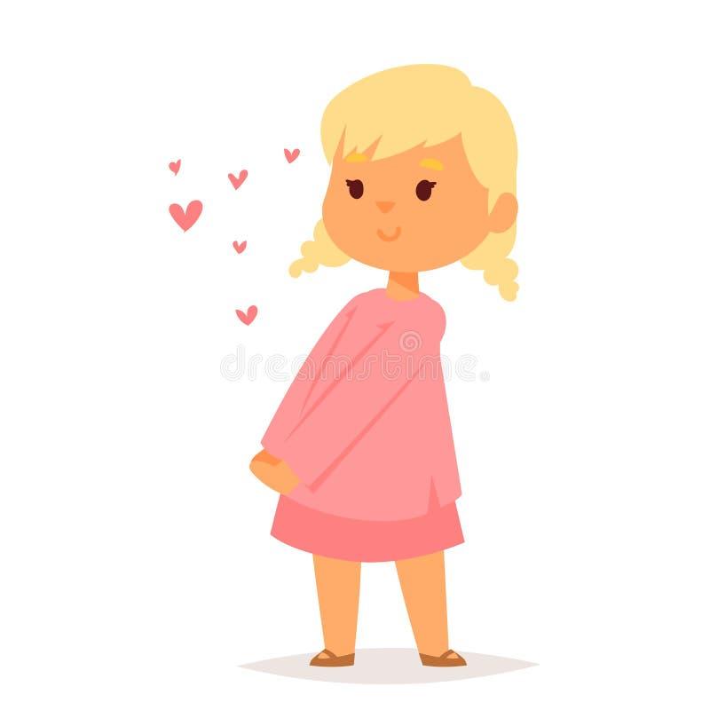 Mädchen im glücklichen lächelnden romantischen erwachsenen Verhältnis Amorousness Frau des Liebesvektorcharakters Kinderzusammen stock abbildung