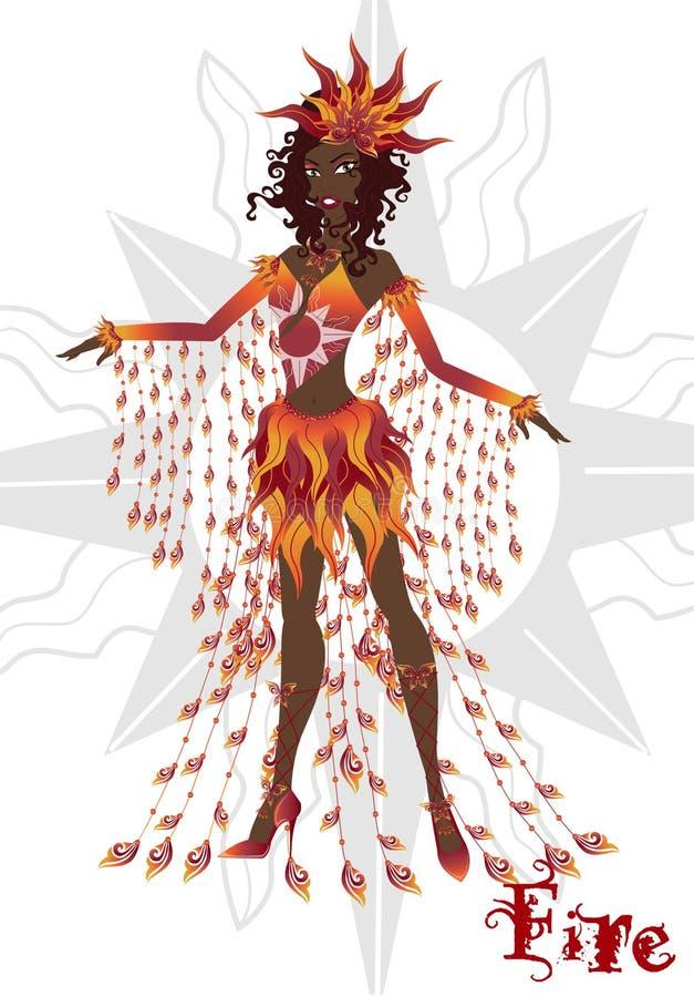 Mädchen im Karnevalskleid, das Feuerelement darstellend, gegliederte Puppe stock abbildung
